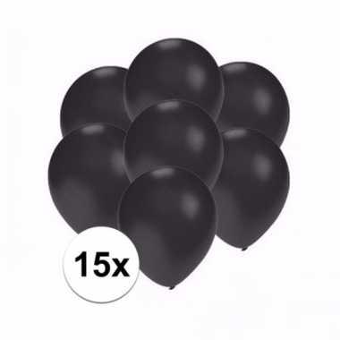 Mini metallic zwarte decoratie ballonnen 15 stuks