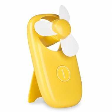 Mini ventilator op batterijen geel
