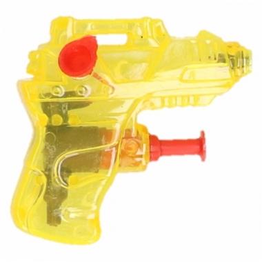 Mini waterpistool geel 7 cm