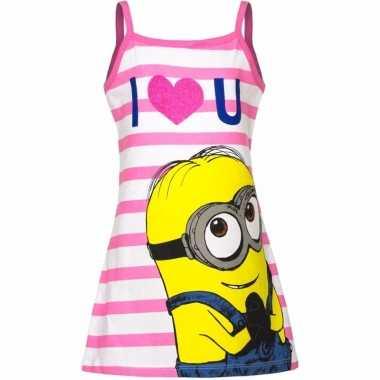 Minions jurk pyjama wit/roze voor meisjes