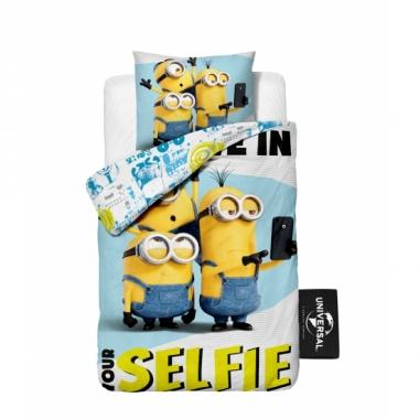 Minions selfie dekbedovertrek kinderen 140 x 200 cm