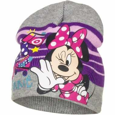 Minnie mouse muts grijs voor meisjes