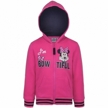 Minnie mouse sweater met rits roze
