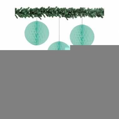 Mint groene kerstversiering ballen van papier 10 cm 3 stuks