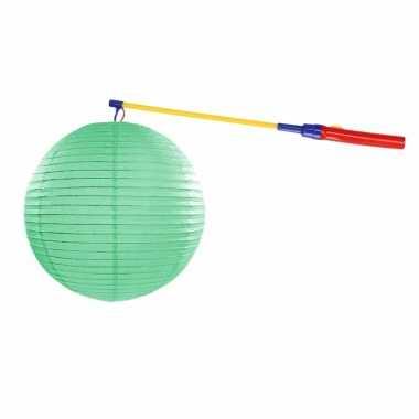 Mint groene lampion 35 cm met lampionstokje