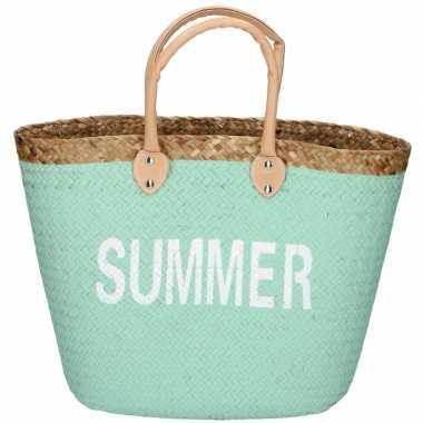 Mint rieten strandtas summer 20 liter