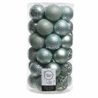 Mintgroene kerstversiering kerstballenset kunststof 6 cm 36x
