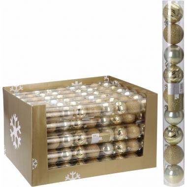 Mix kerstballen pakket goud glans en glitter