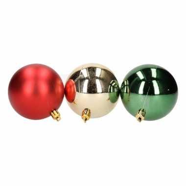 Mix kerstballen pakket goud glans en rood mat