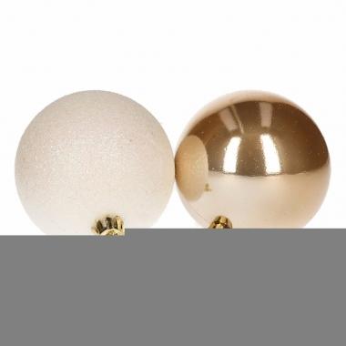 Mix kerstballen pakket goud glans en wit glitter