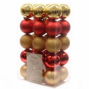 Mix kerstballen pakket goud/rood