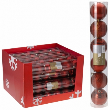 Mix kerstballen pakket rood glans en glitter