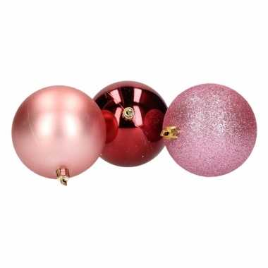 Mix kerstballen pakket roze glitter en bordeaux glans