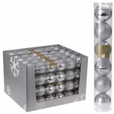 Mix kerstballen pakket zilver glans en glitter