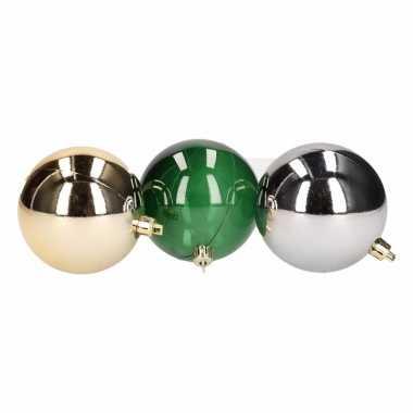 Mix kerstballen pakket zilver goud en groen doorzichtig