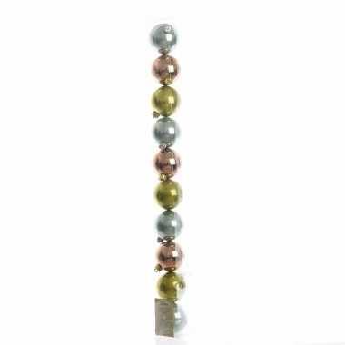 Mix plastic kerstballen pakket groen/brons glanzend