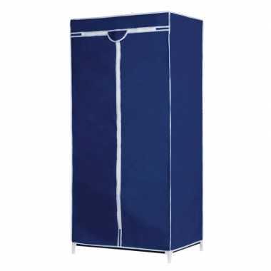 Mobiele opvouwbare kledingkast met blauwe hoes 160 cm