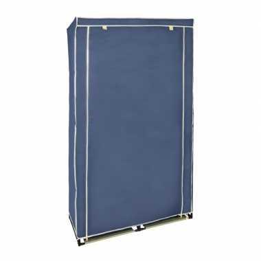 Mobiele opvouwbare kledingkast met blauwe hoes 169 x 88 cm