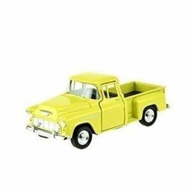 Modelauto chevrolet 1955 stepside geel 1:34