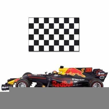 Modelauto max verstappen 1:43 met finish vlag