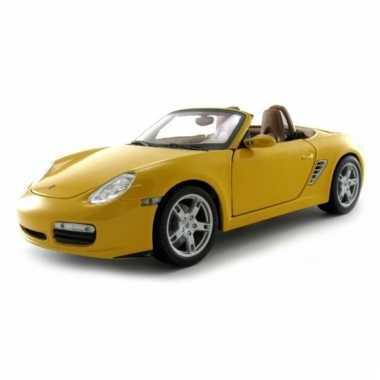 Modelauto porsche boxter s cabrio geel