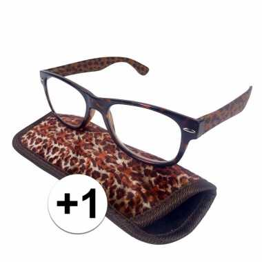 Modieuze leesbril +1 in panterprint