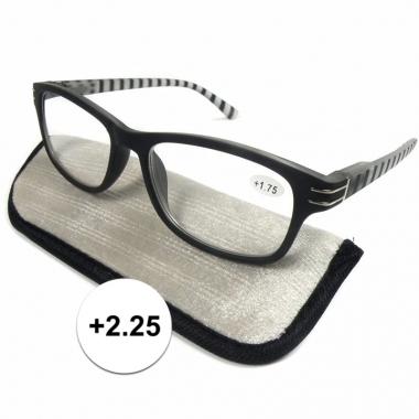 Modieuze leesbril +2.25 zwart/wit gestreept