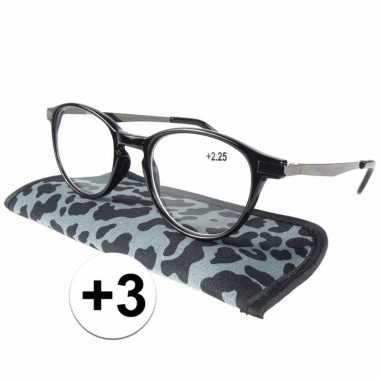 Modieuze leesbril +3 panterprint grijs