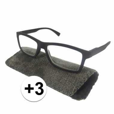Modieuze leesbril +3 zwart met stippen
