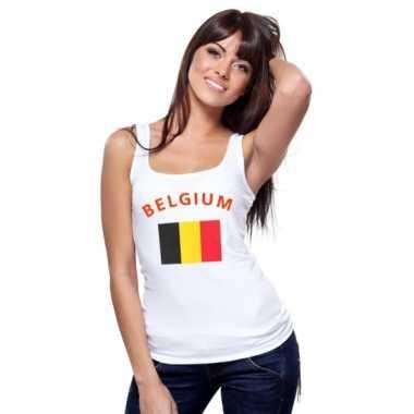 Mouwloos shirt met vlag belgi? print voor dames