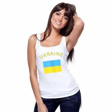 Mouwloos shirt met vlag oekraine print voor dames