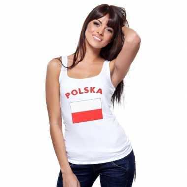 Mouwloos shirt met vlag polen print voor dames