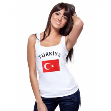 Mouwloos shirt met vlag turkije print voor dames