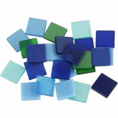 Mozaiek tegels kunsthars groen/blauw 10x10