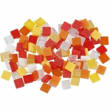 Mozaiek tegels kunsthars rood/oranje 5x5