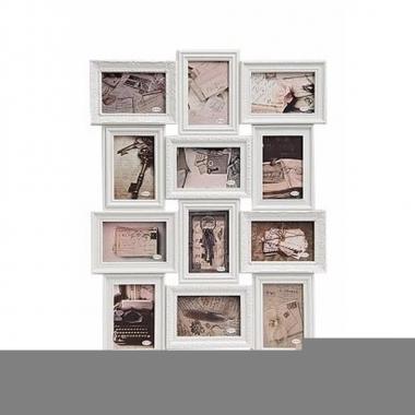 Multi fotolijst barok wit 12 fotos