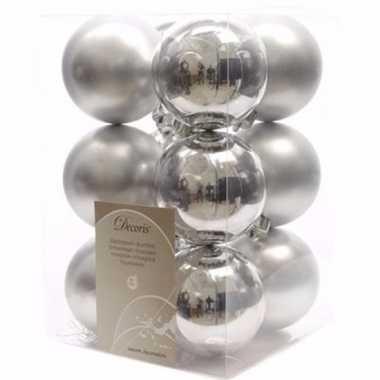 Mystic christmas kerstboom decoratie kerstballen zilver 12 x
