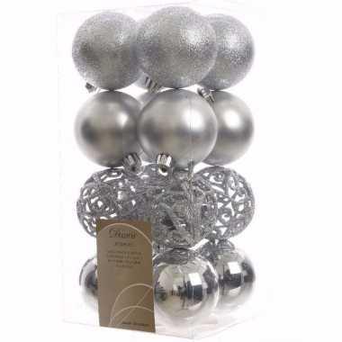 Mystic christmas kerstboom decoratie kerstballen zilver 16 x