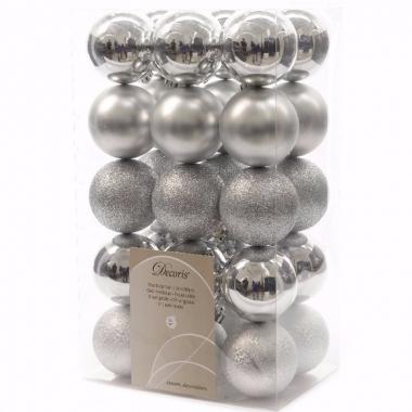 Mystic christmas kerstboom decoratie kerstballen zilver 30 x