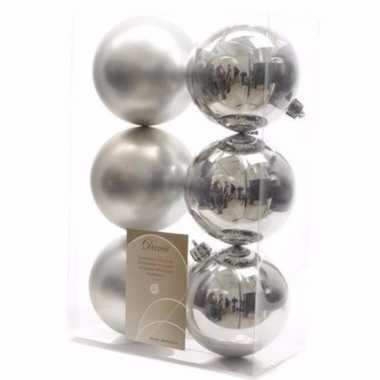 Mystic christmas kerstboom decoratie kerstballen zilver 6 x