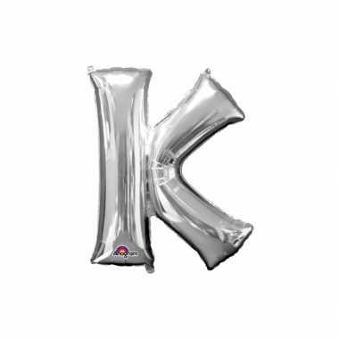 Naam versiering zilveren letter ballon k