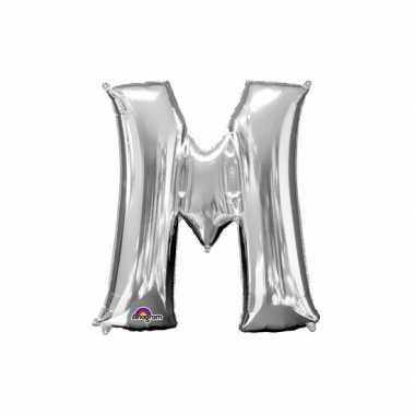 Naam versiering zilveren letter ballon m