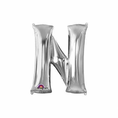 Naam versiering zilveren letter ballon n