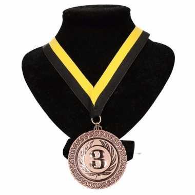 Nac breda kleuren medaille nr. 3 halslint geel en zwart