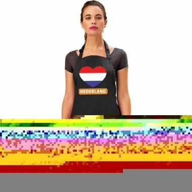 Nederland hart vlag barbecueschort/ keukenschort zwart