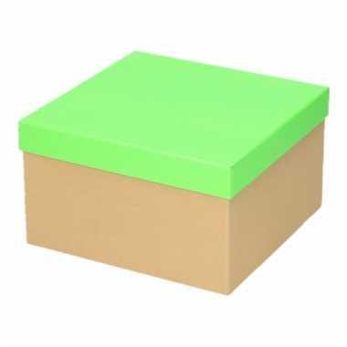 Neon groen cadeaudoosje 19 cm vierkant trend
