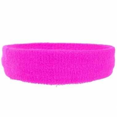 Neon roze hoofd zweetband voor volwassenen trend