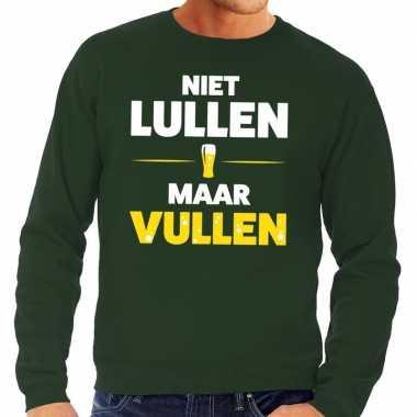 Niet lullen maar vullen tekst sweater groen voor heren