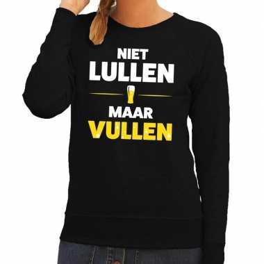 Niet lullen maar vullen tekst sweater zwart voor dames