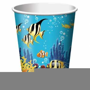 Oceaan themafeest bekertjes 8 stuks